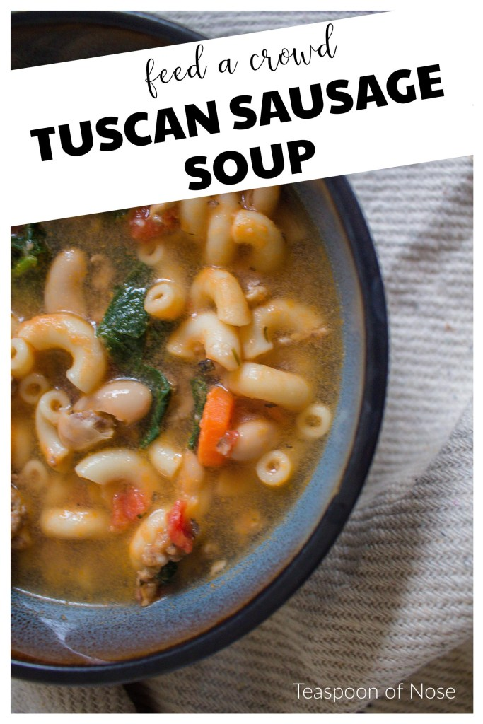 Tuscan Sausage Soup is hearty, delicious, and will feed an army!!