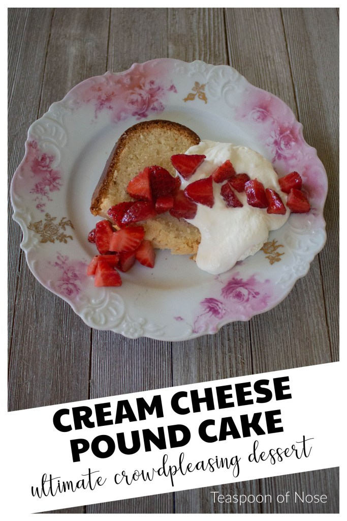 Cream cheese pound cake is the perfect offering for your next office potluck or birthday! It's creamy, rich and dense without being heavy!