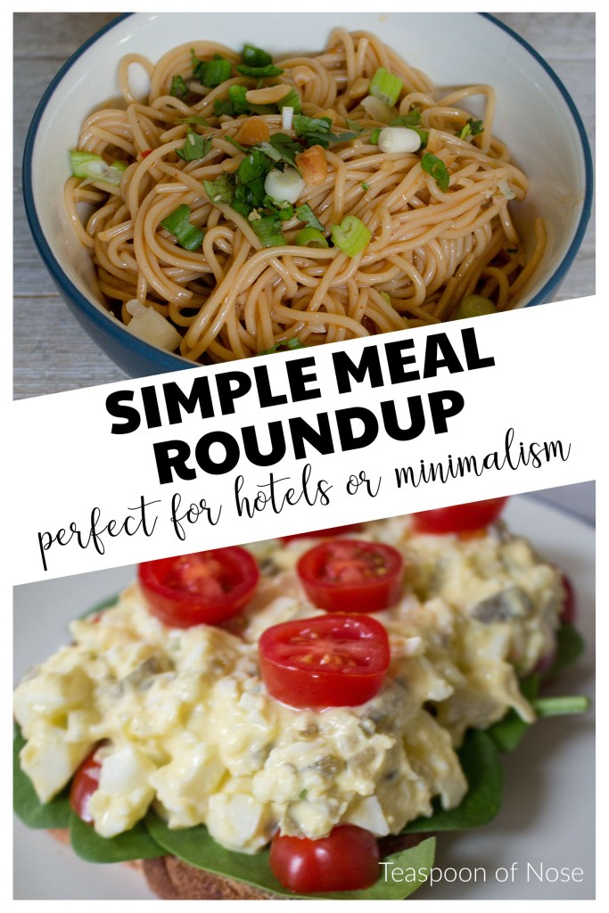 Need an easy meal? Here are some simple meals you can pull together even in the most basic of kitchens or efficiency hotels!