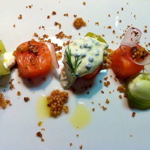 Norwegian salmon with cucumber, radish, dill and mustard seed