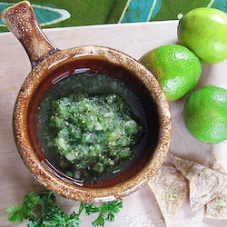 Tomatillo Salsa Verde with Lime Salt Tortilla Chips