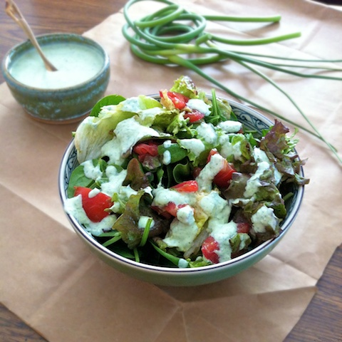 Garlic Scape Green Goddess Dressing with Tomato Avocado Salad