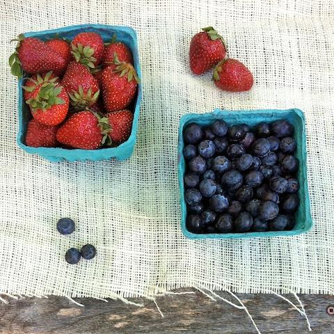 Freshly picked strawberries and blueberries