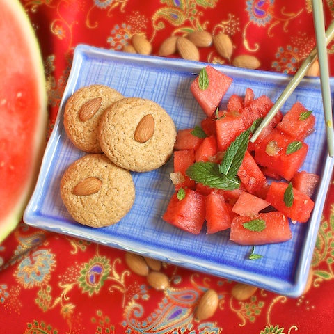 Almond Cookies & Watermelon Salad
