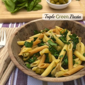Pasta with olives and parlsey
