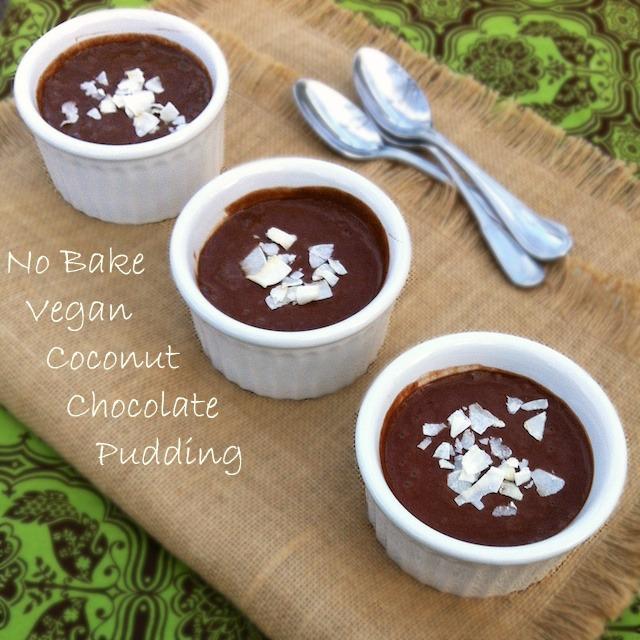 No Bake Vegan Coconut Chocolate Pudding   Teaspoonofspice.com