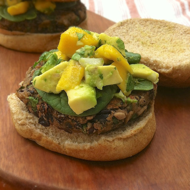 I chose to make these Black Bean Burgers with Mango Salsa