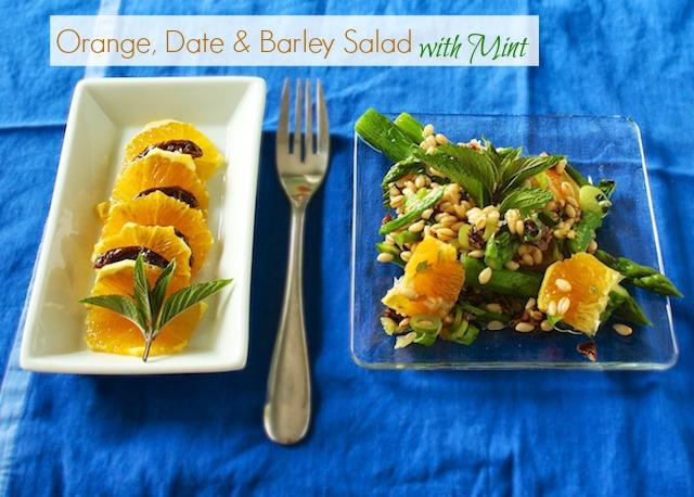 Orange Date Barley Salad with Mint | TeaspoonofSpice.com