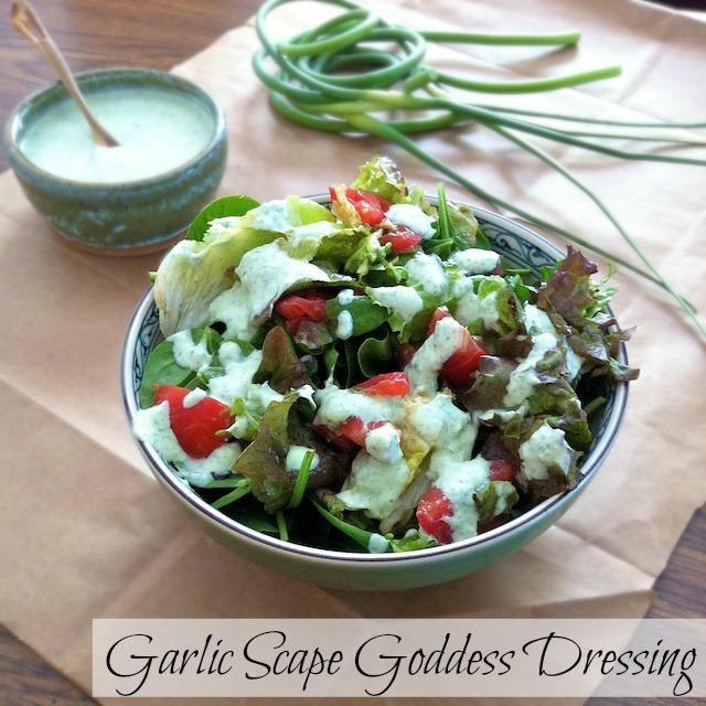 Tomato Avocado Salad with Garlic Scape Goddess Dressing | Teaspoonofspice.com