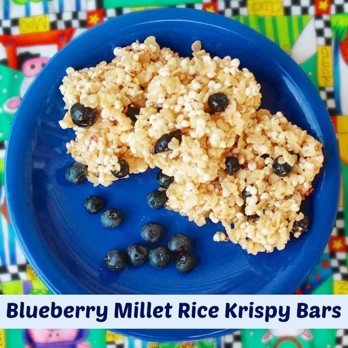 Blueberry Millet Rice Krispy Bars   Teaspoonofspice.com
