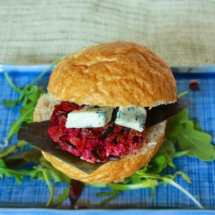 Bacon, Blue Cheese & Beet Veggie Burger   Teaspoonofspice.com