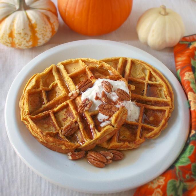 Pumpkin Pecan Waffles | Teaspoonofspice.com