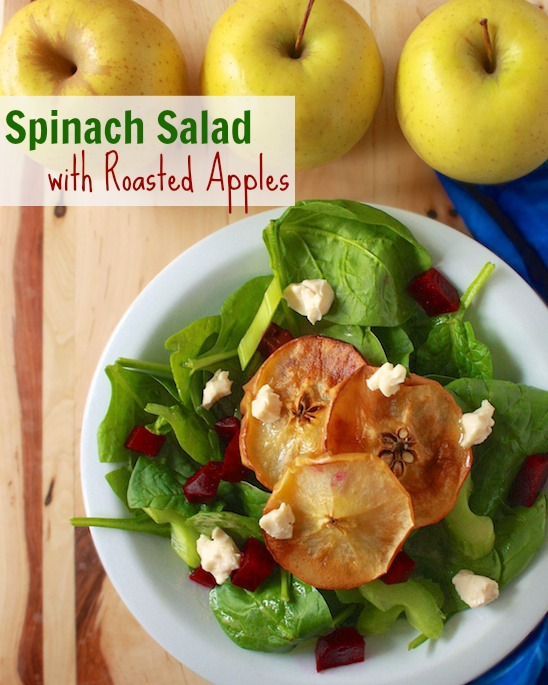 Spinach Salad with Roasted Apples | Teaspoonofspice.com