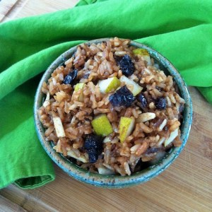 Breakfast Rice Bowl with Dried Plums, Pears and Almonds