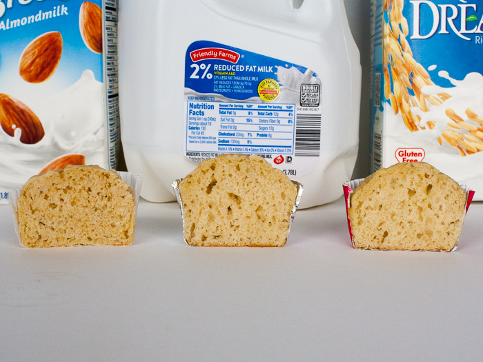 Almond milk, rice milk or dairy milk: WHICH BAKES THE BEST MUFFIN?   @TspCurry - For more healthy recipes: TeaspoonOfSpice.com