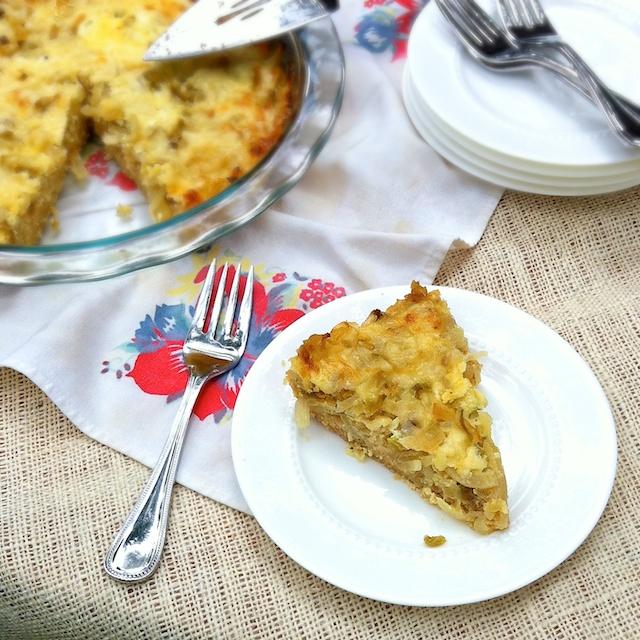 Caramelized Onion, Pepper & Cheddar Pie   TeaspoonofSpice.com