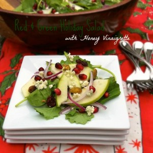 Red and Green Holiday Salad with Honey Vinaigrette