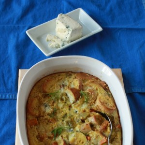 Sweet Potato, Bagel and Blue Cheese Bread Pudding | The Recipe ReDux