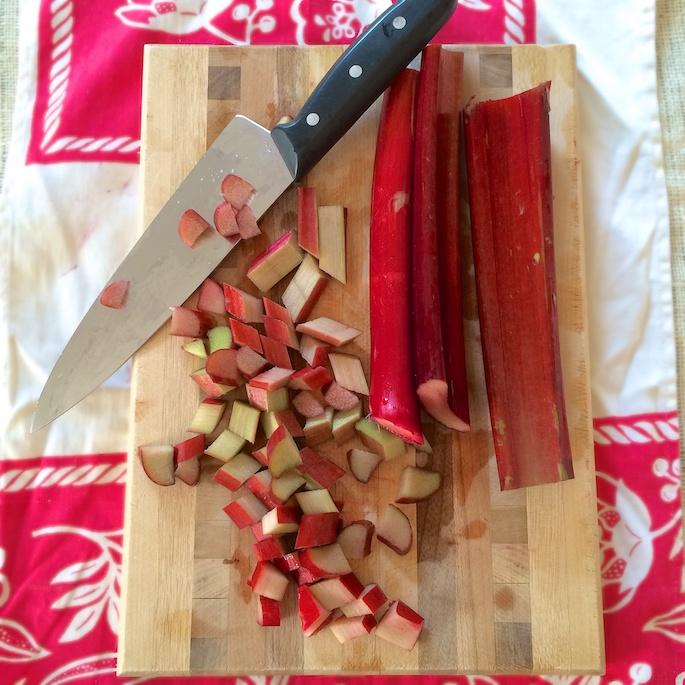 Rhubarb and strawberries meet up in this slump recipe similar to a fruit cobbler. Recipe at Teaspoonofspice.com #rhubarb #strawberries #summerdesserts #cobbler