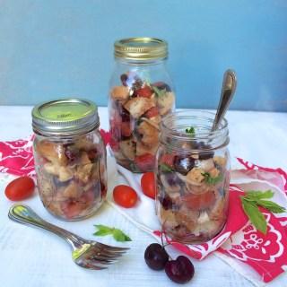 Portable Cherry Caprese Panzanella Salad for PICNIC WEEK
