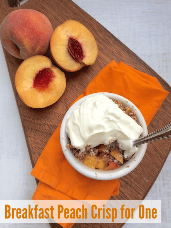 Breakfast Peach Crisp for One | Teaspoonofspice.com
