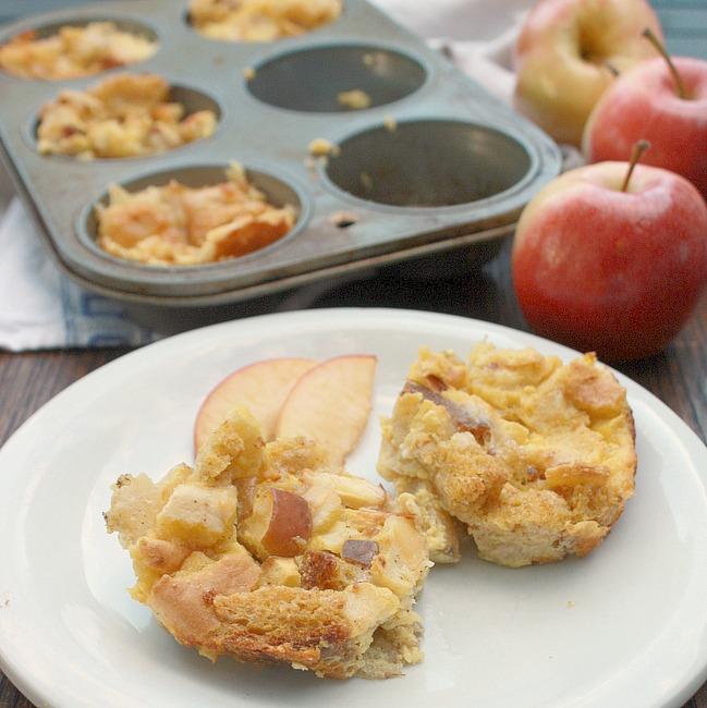 Apple Cheddar Bread Pudding Bites | TeaspoonOfSpice.com