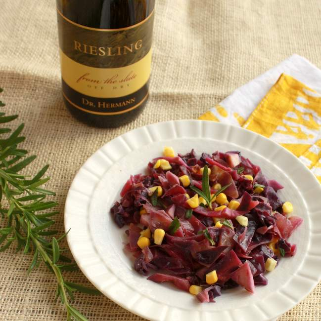 Wine Braised Cabbage and corn with Rosemary