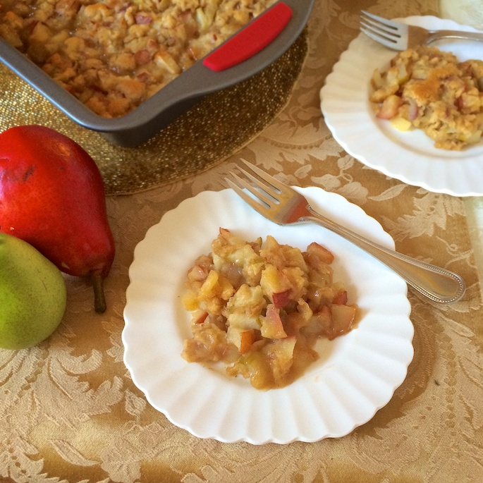 Caramel topping and pear batter make for a delicious and healthier holiday dessert option.