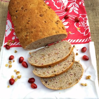 Homemade bread studded with cranberries and walnuts - perfect for the holidays.