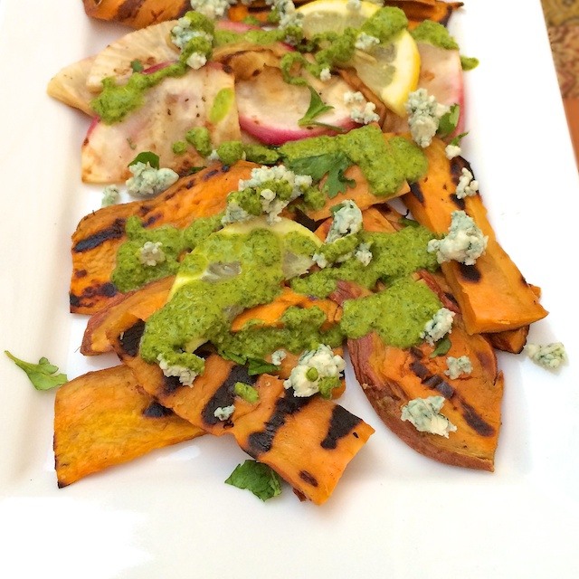 Winter veggie dish: Grill up your favorite root vegetables and serve with cilantro oil. | Teaspoonofspice.com