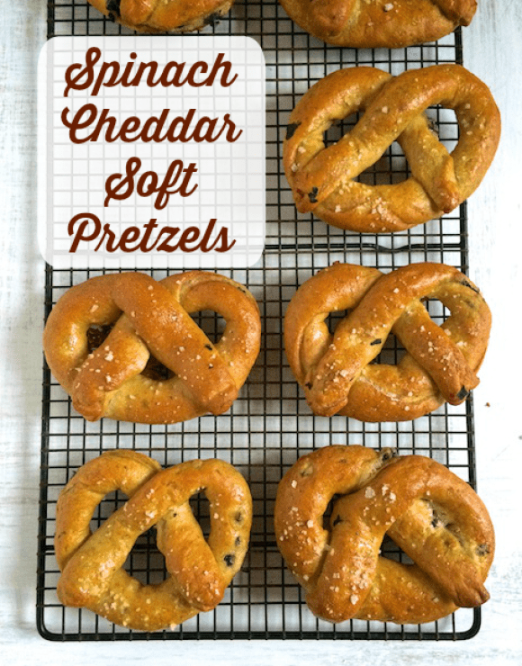 Whole wheat soft pretzels stuffed with spinach and cheddar cheese make for a balanced and satisfying snack.