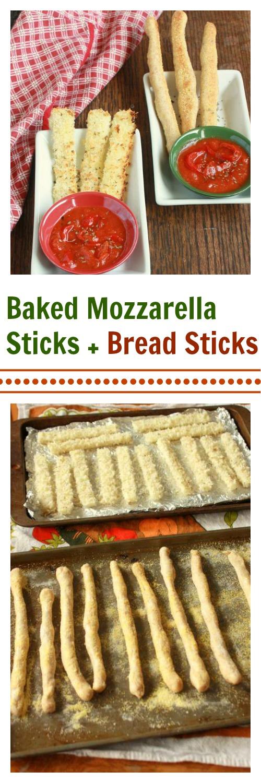 Baked Mozzarella Sticks + Bread Sticks | TeaspoonOfSpice.com