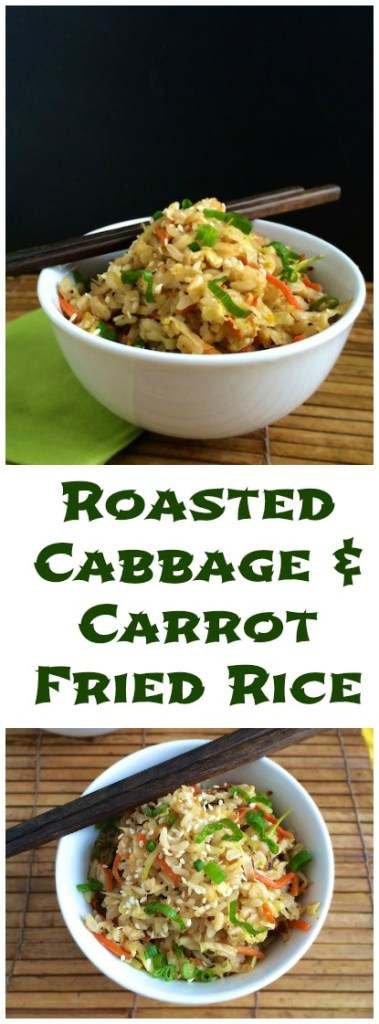 Stir fry roasted cabbage with carrots and day old brown rice for a healthy and tasty vegetable fried rice meal. | Teaspoonofspice.com @tspbasil