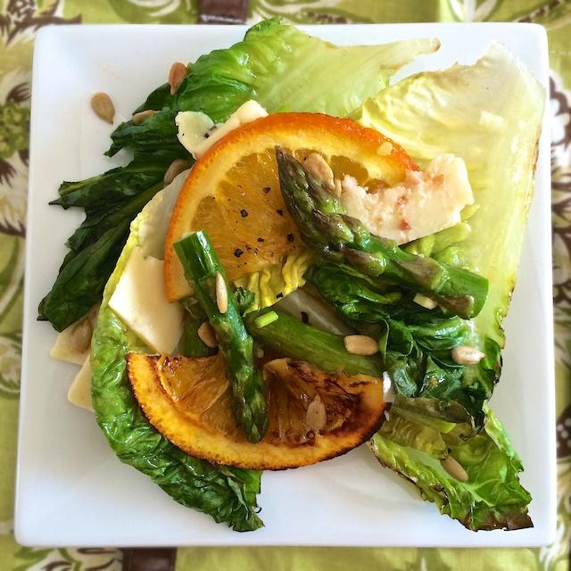 Roasted Orange Asparagus Cheddar Grilled Romaine Salad | Teaspoonofspice.com