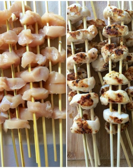 Healthy Kitchen Hacks: Use two skewers to evenly grill food like chicken, pepper strips and onion wedges. | Teaspoonofspice.com @tspbasil