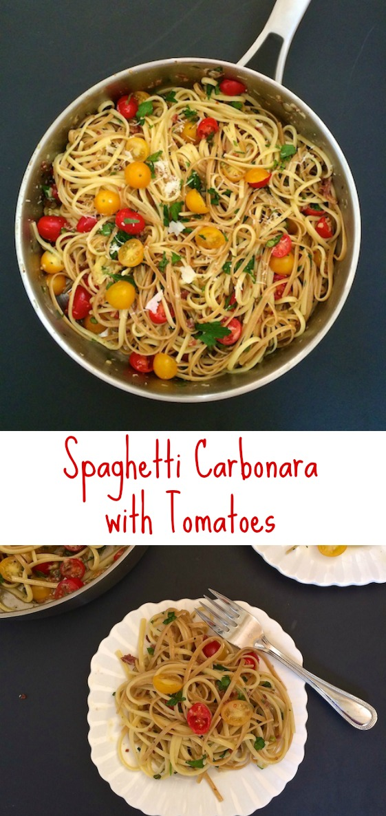 Pasteurized eggs take the worry out of this super easy Spaghetti Carbonara that's tossed with tomatoes, garlic scapes and parsley. #sponsored #reciperedux @tspbasil