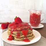Hearty and healthy whole grain pancakes served with an easy to make strawberry lemon sauce – perfect for brunches or family breakfast. Recipe at Teaspoonofspice.com