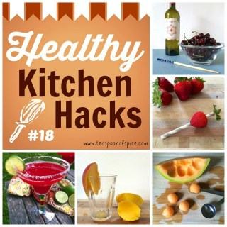 #HealthyKitchenHacks: Easy Way to Pit Cherries, Trick to Hulling Strawberries, How to Peel a Mango with a Glass, How to Ball a Melon Without a Melon Baller, Add Grilled Fruit to Your Summer Cocktail | Teaspoonofspice.com @tspbasil