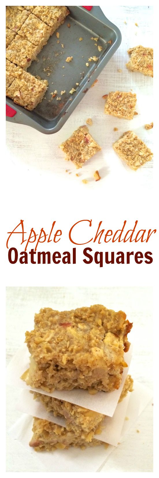 Apple Cheddar Oatmeal Squares - easy to make and perfect for a quick breakfast or snack. @tspbasil