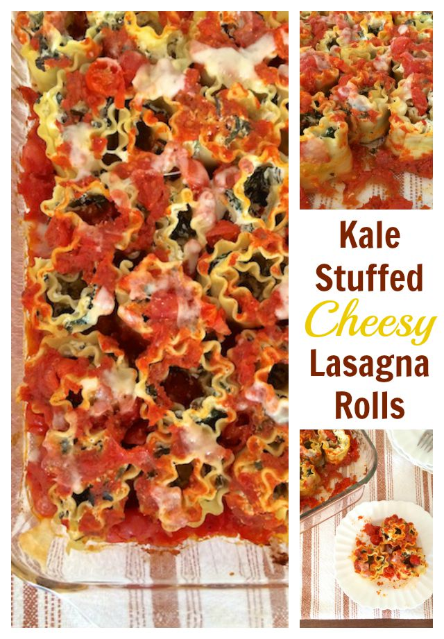 Delicious twist on your traditional lasagna - stuff with kale, ricotta, mozzarella and Parmesan then roll instead of layer! Great freezer meal, too. @tspbasil