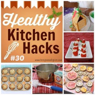 Graham Cracker Gingerbread Houses * Clean Burnt On Pans * Wonton Cup Appetizer Cups * Tomato Santas * Roast Winter Fruit #HealthyKitchenHacks | @TspCurry