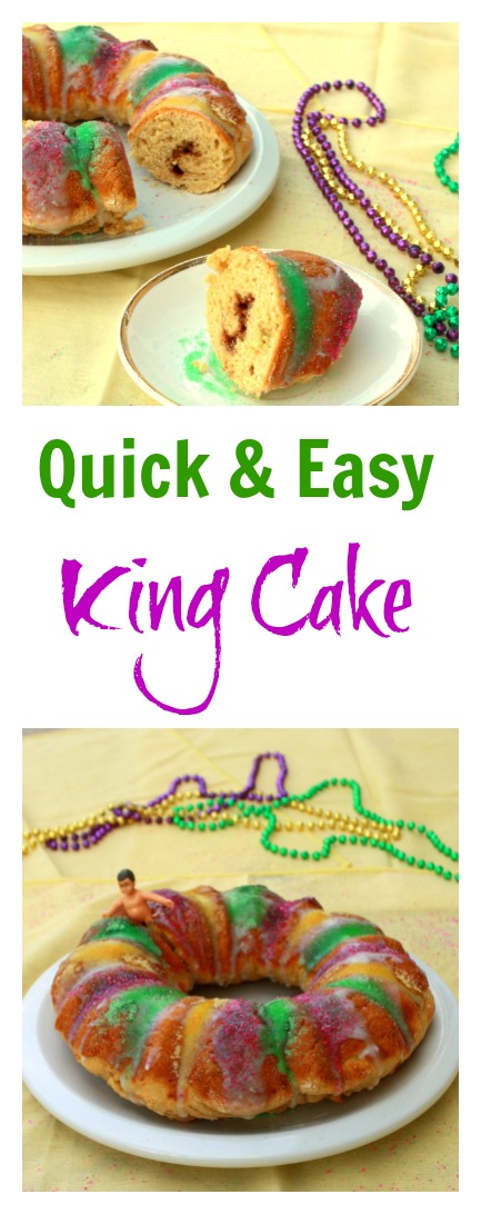 King Cake baked and frosted in a little over an hour: Quick & Easy King Cake for Mardi Gras | @tspcurry