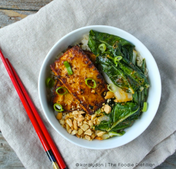 27 Delicious Ways To Enjoy Leafy Greens -like this Spicy Peanut Tofu and Bok Choy Bowl