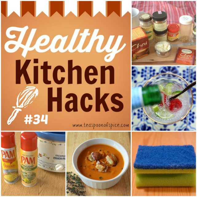 Healthy Kitchen Hacks: DIY Chai Latte Mix * Magical Way to Get Kids to Eat Soup * Sponges vs Dishrags * Product we love: Pam cooking spray * DIY Sparkling Water Bar | @tspcurry