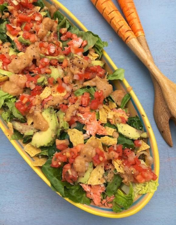 Roasted Avocado Salmon Taco Salad | Teaspoonofspice.com