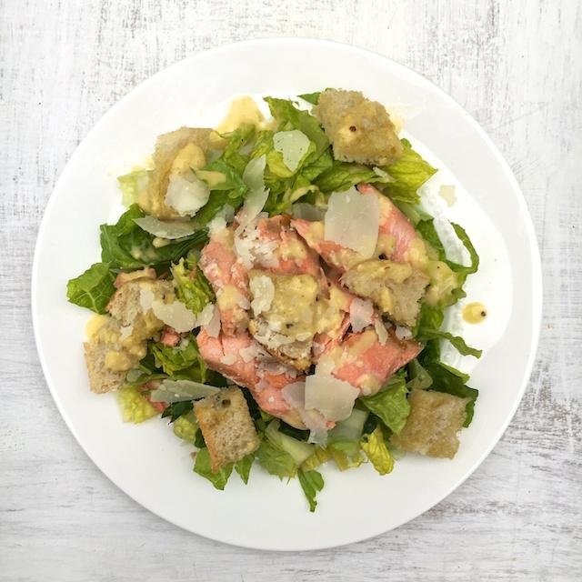 Salmon Caesar Salad with anchovy-free dressing @tspbasil