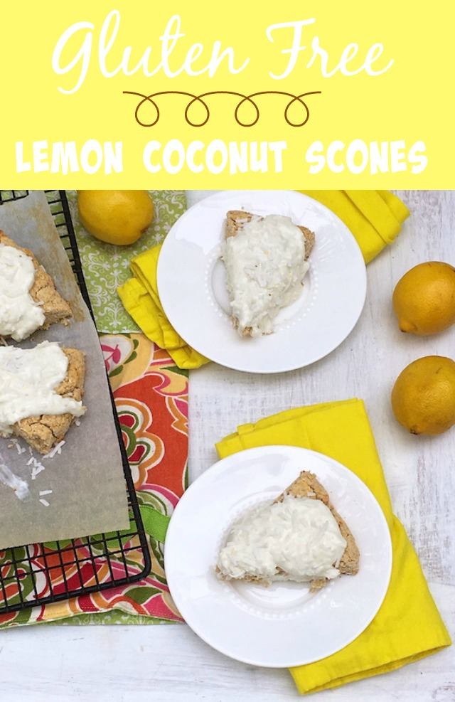 Gluten-free lemon coconut scones for spring celebrations – made with coconut and oat flours. @tspbasil