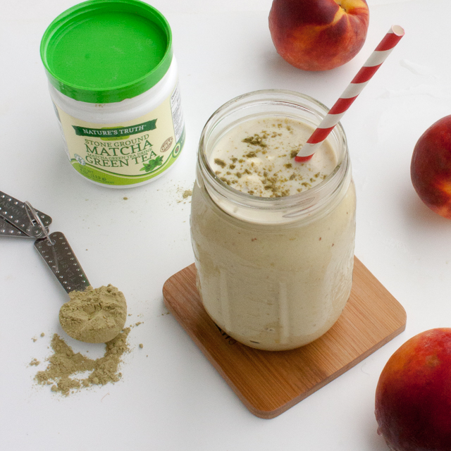Stimulates + calms: PERFECT PEACH MATCHA PROTEIN SHAKE | @TspCurry