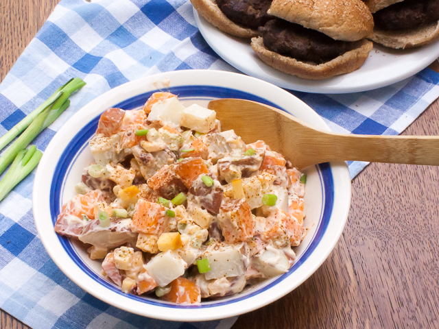 Spicy chipotle pepper, sweet potatoes, smoked Gouda cheese! Smoky Two-Potato Salad   @tspcurry