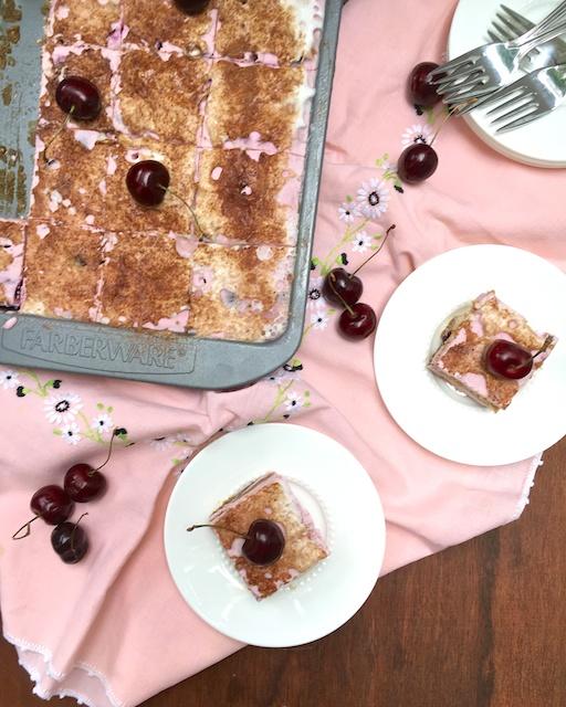 This cherry frozen Italian dessert features an unlikely ingredient – bean water!